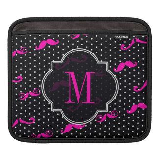 Pink Mustache Black and White Polkadots iPad Sleeve