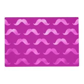 Pink Mustache Faux Foil Metallic Mustaches Design Placemat