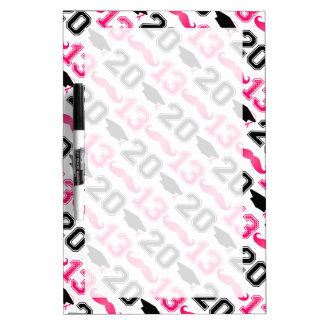Pink Mustache Grad 2013 Dry Erase Board