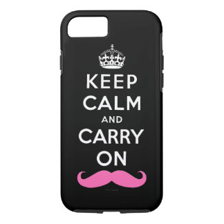 Pink Mustache Keep Calm and Carry On iPhone 7 Case