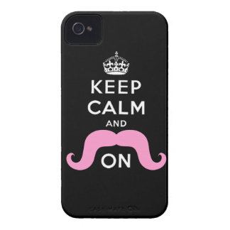 Pink Mustache Keep Calm Carry On iPhone 4 Case