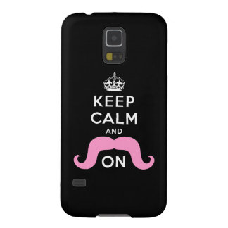 Pink Mustache Keep Calm Carry On Galaxy S5 Case