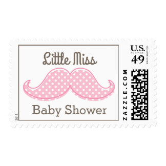 Pink Mustache Little Miss Stamps