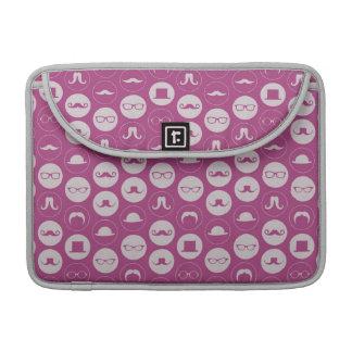 Pink Mustache Pattern MacBook Pro Sleeves