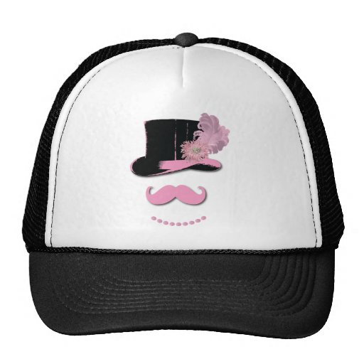 Pink mustache, top hat, feathers, and flower