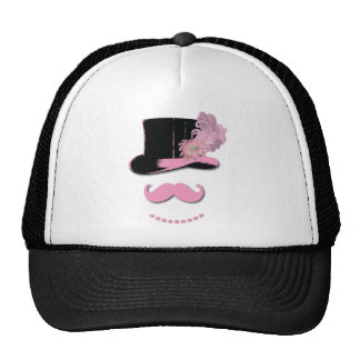 Pink mustache, top hat, feathers, and flower trucker hat
