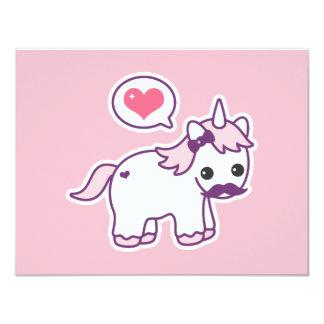 Pink Mustache Unicorn Birthday Party Invitations