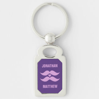 Pink Mustaches custom key chain