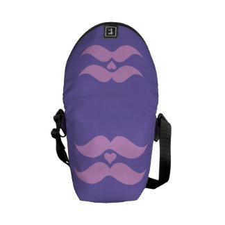 Pink Mustaches custom messenger bag