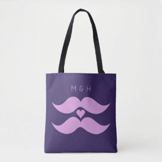 Pink Mustaches custom monogram bags