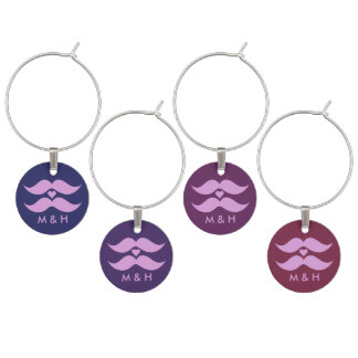 Pink Mustaches custom monogram wine charms