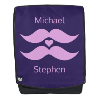Pink Mustaches custom names backpack