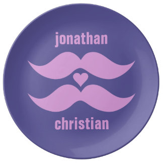 Pink Mustaches custom porcelain plate