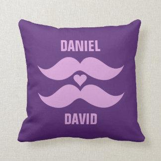 Pink Mustaches custom throw pillow