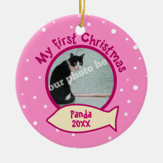 Pink My First Christmas Personalized Photo Cat Double-Sided Ceramic Round Christmas Ornament