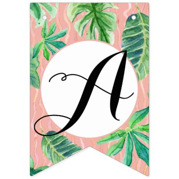 Beach Themed Pink n Black Bridal Shower Flamingo Leaf Striped Bunting Flags
