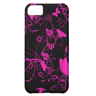 Pink n Black Butteryfly case iPhone 5C Cases