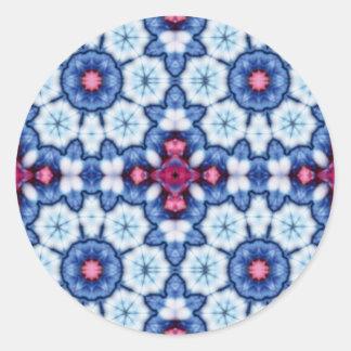 pink n blue kaleidoscope classic round sticker