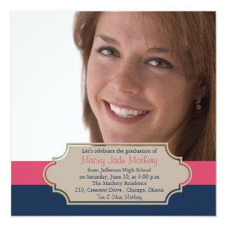 Pink n blue panel photo graduation party invitatio card