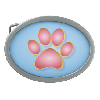 Pink 'n' Gold Kitty Paw Belt Buckle