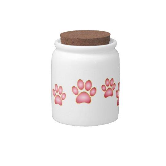 Pink 'n' Gold Kitty Paw Candy Jar