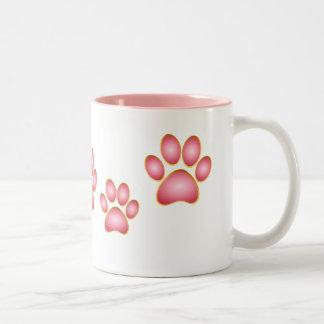 Pink 'n' Gold Kitty Paw Mugs