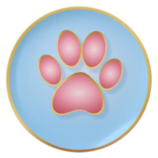 Pink 'n' Gold Kitty Paw Place Dinner Plate
