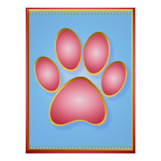 Pink 'n' Gold Kitty Paw Shirts Poster