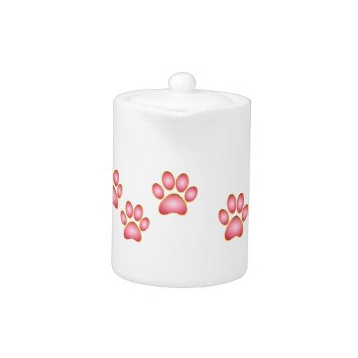 Pink 'n' Gold Kitty Paw Teapot