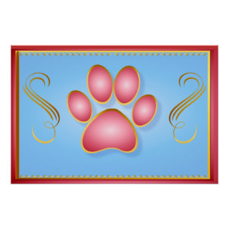 Pink 'n' Gold Kitty Paw Yard Sign