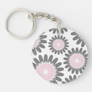 Pink-n-Gray Floral Keychain