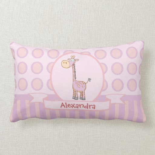 Pink-n-Orange Giraffe Lumbar Pillow