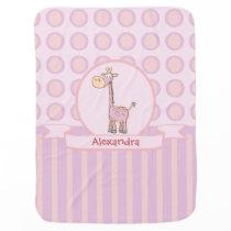 Pink-n-Orange Giraffe Stroller Blanket