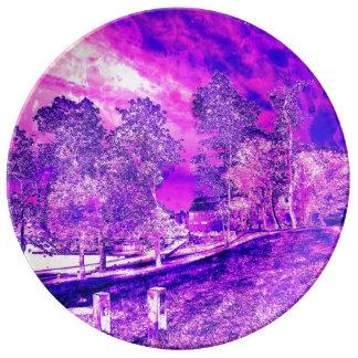 Pink N Purple Rural Landscape Porcelain Plate