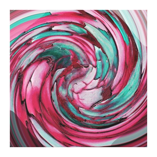Pink N Teal Abstract Art -Dolphin N Eagle -Canvas Canvas Print
