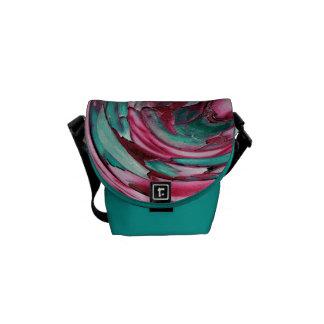 Pink N Teal Abstract Art Rickshaw Messenger Bag