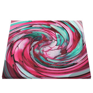 Pink N Teal Abstract  Dolphin vs Eagle Canvas Gallery Wrapped Canvas