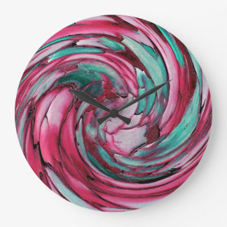 PINK N TEAL Dolphin vs Eagle Abstract Wall Clock