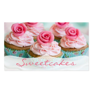 Pink n Teal Rose Cupcake Bakery Business Cards