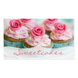 Pink n' Teal Rose Cupcake Bakery Double-Sided Standard Business Cards (Pack Of 100)