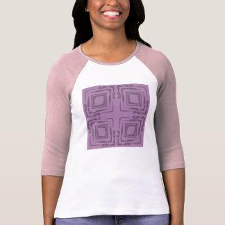 Pink n White n Mauve Three-Quarter Sleeve T-Shirt
