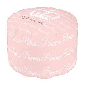 Pink-n-White Princess Round Pouf