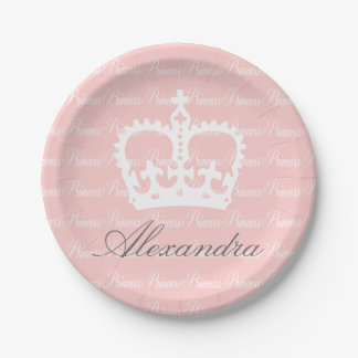 Pink-n-White Princess 7 Inch Paper Plate