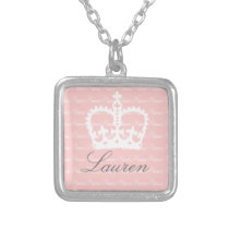 Pink-n-White Princess Silver Plated Necklace