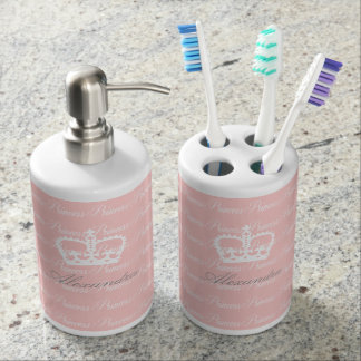 Pink-n-White Princess Soap Dispenser And Toothbrush Holder