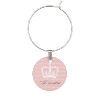 Pink-n-White Princess Wine Charms
