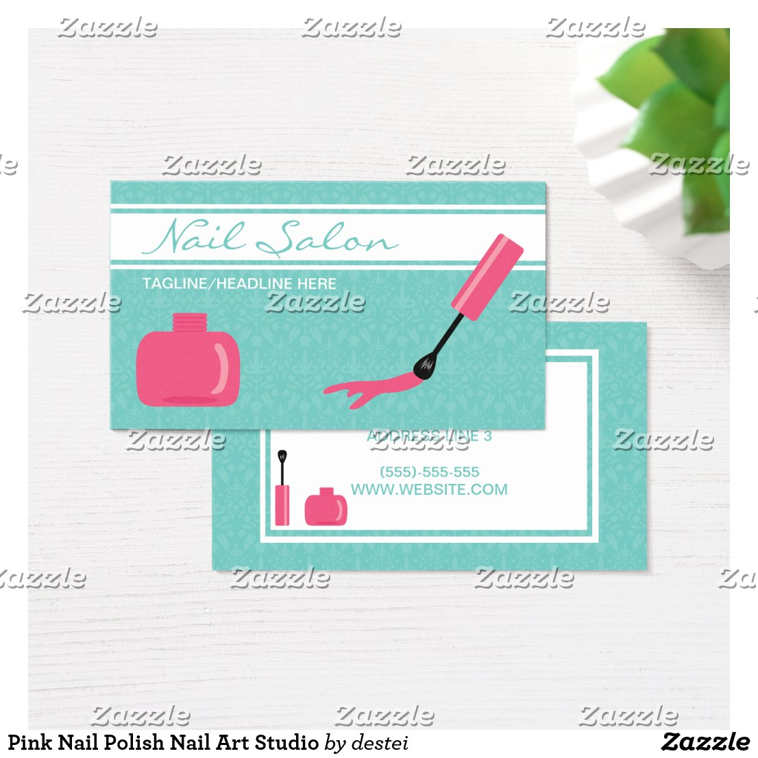 Pink Nail Polish Nail Art Studio Business Card