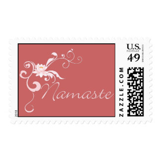 Pink Namaste with scrolls and swirls Postage