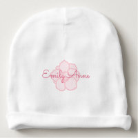 Pink Name on Pink Cherry Blossoms Baby Beanie