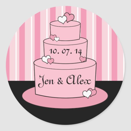 wedding cake bag stickers pink names wedding cake box favor stickers zazzle 21785